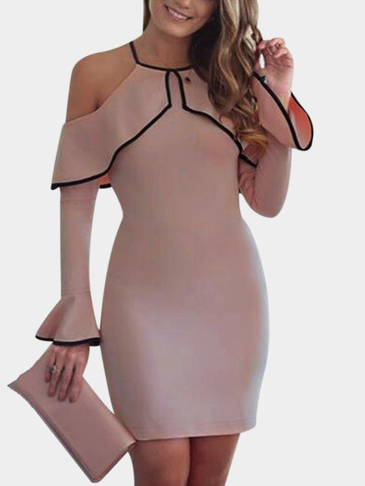 Fashion Casual Halter Flared Mini Robe en Rose