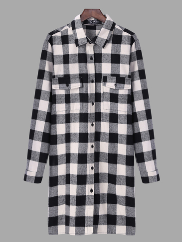 Double Color Classic Collar Button Front Grid Pattern Shirt