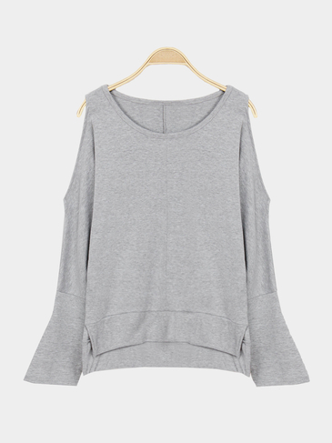 Grey Cold Shoulder Plain Color Blouse