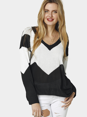 Classic Design Stitching Loose Plunge V-neck Long Sleeves Sweater