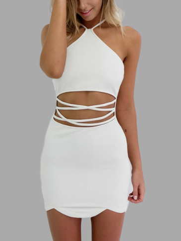 Sexy Halter Neck & Cutout Waist Mini Dress in White