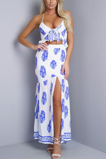 Loose See-through Sexy Strappy Halter Design Slit Details Maxi Dress with Random Print
