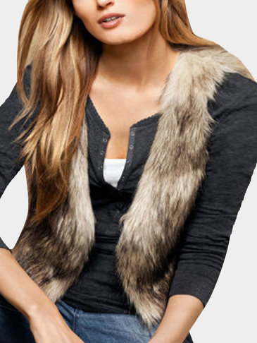 Casual Artificial Fur Gilet Outerwear