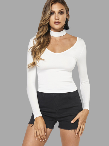 White Sexy Halter V-neck T-shirt