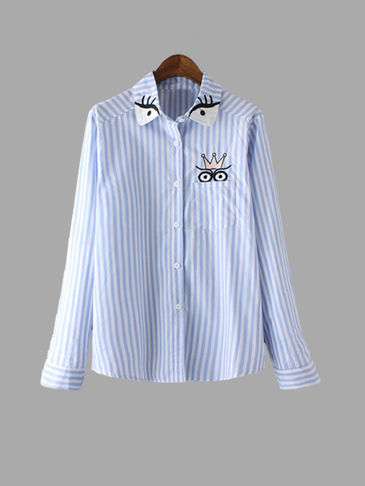 Blue Stripe Pattern Cute Long Sleeves Shirt