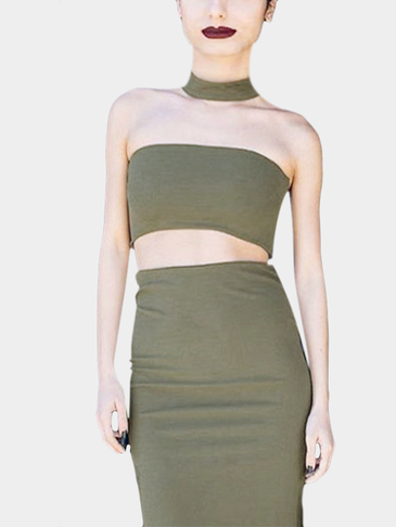 Bodycon Choker-neck Tube Top & Midi Skirts Two-Piece Set in Khaki