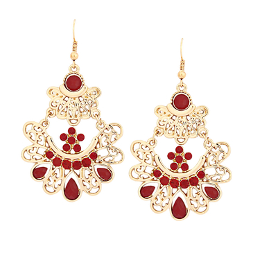 Vintage Red Embellished Diamond Drop Earrings