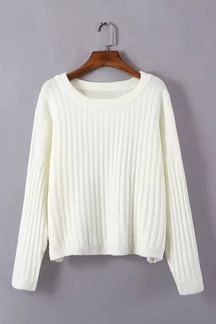 White Loose Ribbed Knit Jumper
