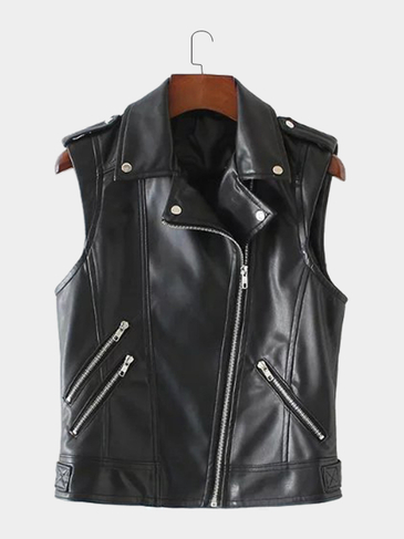 Artificial Leather Sleeveless Pockets WInter Outerwear