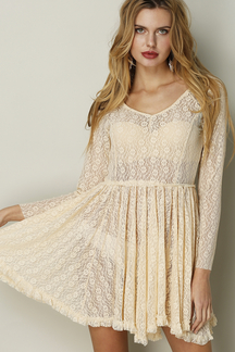 See-through Apricot Mini Dress in Lace
