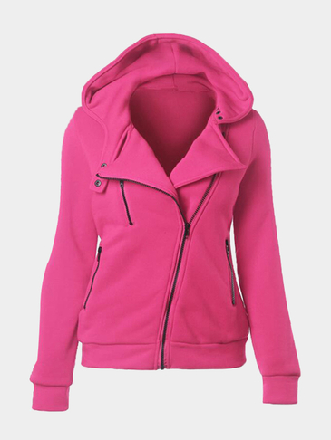 Rose Red Casual Hoodie With Irregular Zipper