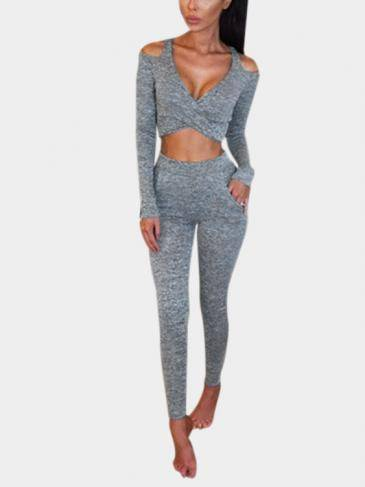 Grey Bodycon V-neck Crossed Front Co-ords