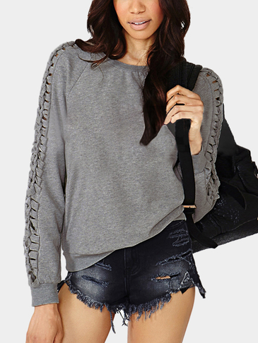 Plain Color Hollow Out Sleeves Sweatshirt