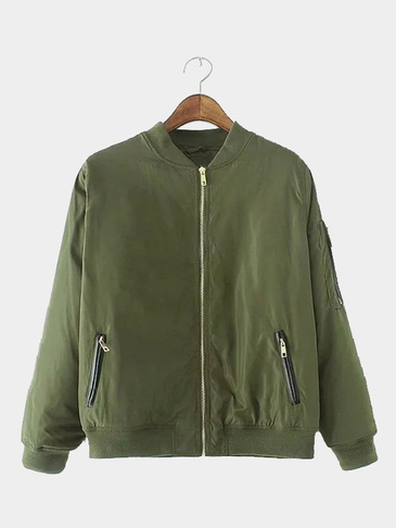 Army Green Military Quilted Bomber Jacket With Zipped Pocket