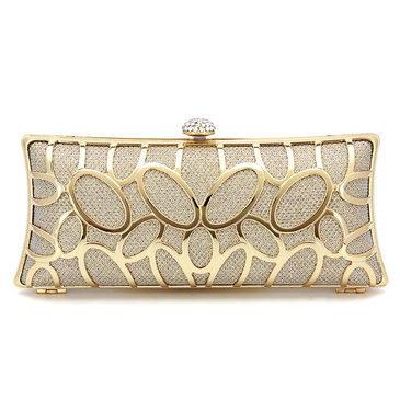 Diamante Clutch Bag in Gold Sequin