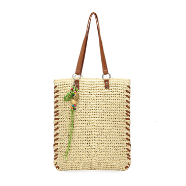 Straw-Woven Lined Beach Bag in Beige with Embellished Detailing