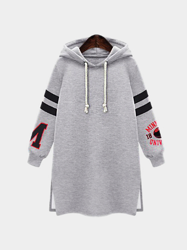 Plus Size Stylish Stripe Sleeve Hoodie In Grey