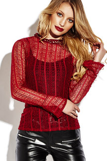 See-through Hollow Flared Sleeves Blouse with Lace Details
