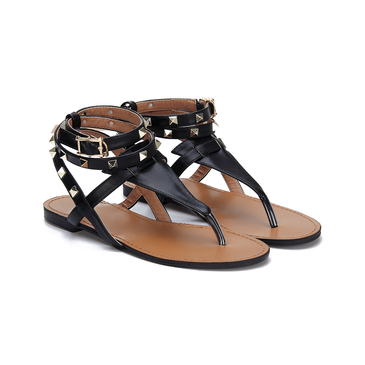 Black Leather Look Wrap Strap Studded Flat Thong Sandals
