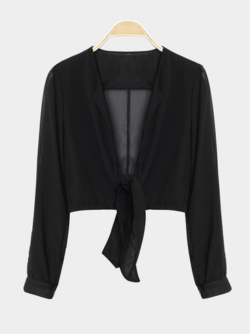 Black Long Sleeves Tie Front Sexy Crop