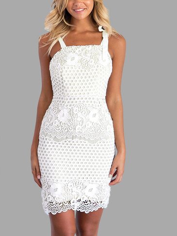 White Sexy Sleeveless Lace Details Mini Dress