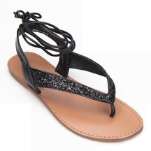 Black Glitter Embellished Lace-up Flat Sandals