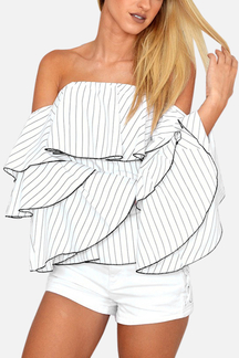 White Off-The-Shoulder Stripe Shirt With Ruffle Sleeves
