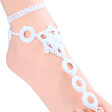 White Lace-up Details Crochet Anklets