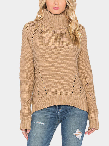 Plain Color Roll Neck Hollow Out Jumper