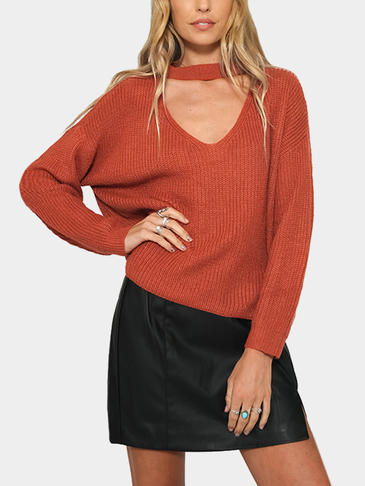 Orange Fashion V-neck Drop Shoulder Jumper