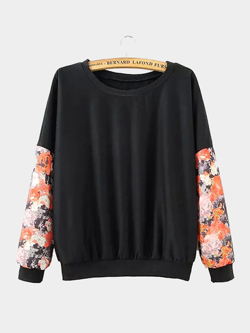 Splicing Floral Print Sweatshirt