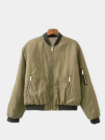Army Green Military Quilted Bomber Jacket