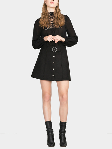 Belted Button Mini Skirt