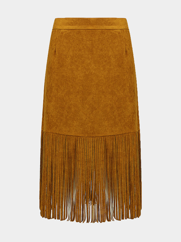 Плюс Размер Fringed Suede Юбка