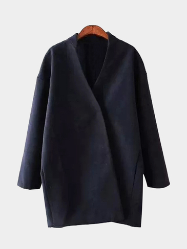 Navy Stand Collar Duster Coat