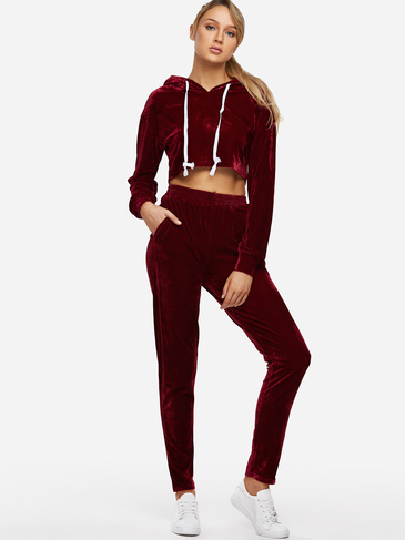 Active Hooded Design High Waisted Tracksuit in Burgundy