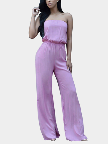Sexy Wrapped Chest Jumpsuit with Self-tie Back Details