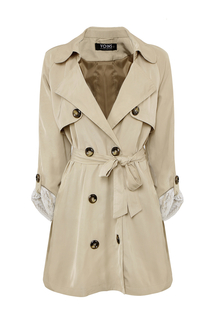 Plus Size Khaki Lapel Coat With Waistband