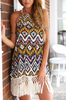 Tribe Print Pattern Dress With Tassel Details