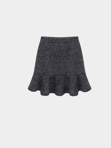 Plus Size Deep Grey Flouncing Mini Skirt