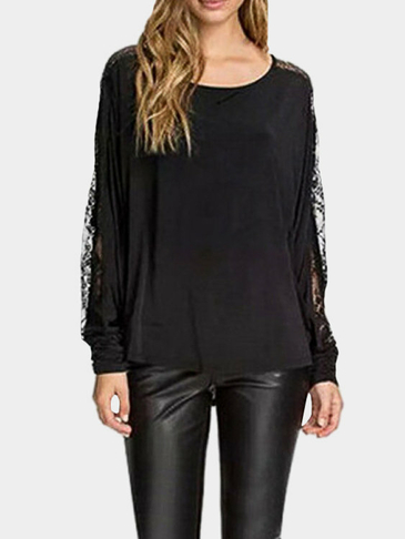 Loose Lace Design See-through Blouse for Fall