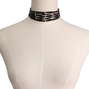Black Suede Ribbon Gold Plated Bead Choker Necklace