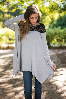 Grey Lace Yoke Asymmetric Slouchy Jersey Top