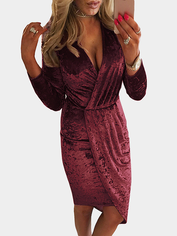 Burgundy Sexy Velvet V-neck Cross design Splited Hem Midi Dress