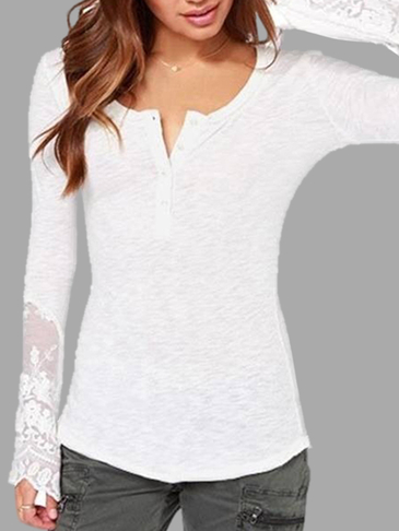 White Mesh Lace Round Neck Top