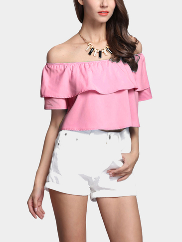 Fashion Off Shoulder Crop Top