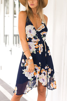 Wrap Front Floral Print Backless Midi Dress
