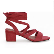 Red Cross Straps Tie Fastening Block Heel Sandals