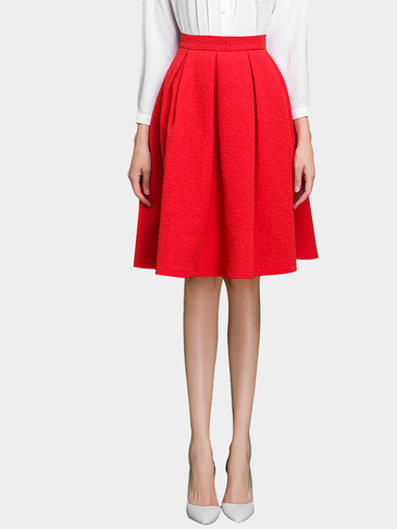 Red High Rise A-Line Midi Skirt in Jacquard