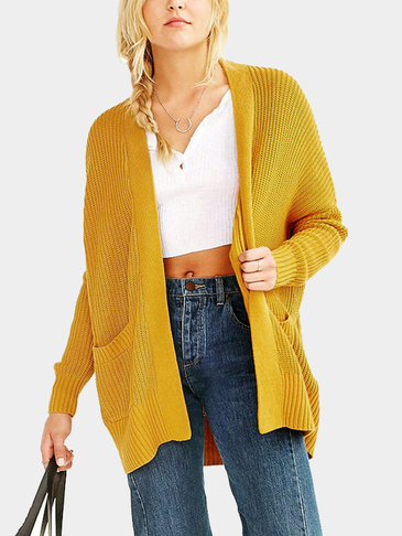 Yellow Fashion Loose Irregular Hem Cardigan